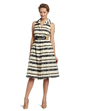 Jones New York Women's Stripe Cut Away Shirt Dress, Multi, 4