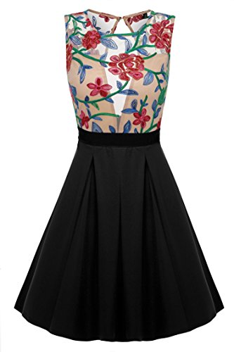 ACEVOG-Women-Floral-Mini-Skater-Dress-See-Through-Party-Evening-Cocktail-Dress