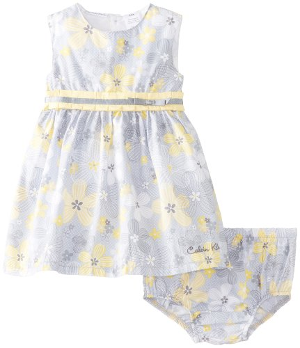 Calvin Klein Baby-Girls Infant and Printed Dress with Panty, Yellow, 12 Months