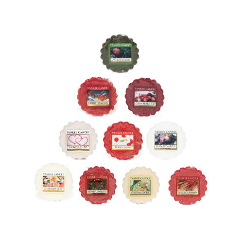 Yankee Candle - 10x Festive Mix Wax Tarts (Including: 1x Snow In Love, 1x Cranberry Ice, 1x Red Apple Wreath, 1x Christmas Cookie, 1x Christmas Eve, 1x Apple & Pine Needle, 1x Sparkling Cinnamon, 1x Sugared Apple, 1x Christmas Rose, 1x Cherries On Snow)