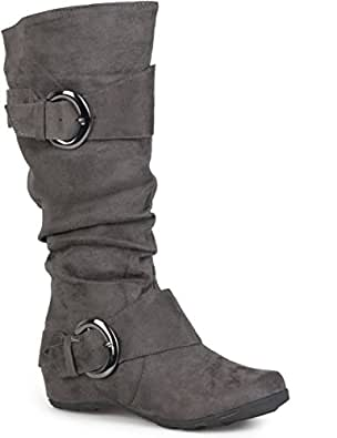 Journee Collection Womens Regular Sized and Wide-Calf Slouch Buckle Knee-High Microsuede Boot Grey 6