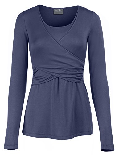 Milk Nursingwear Everday Criss Cross Nursing Top - S - Blue
