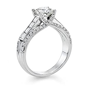 Diamond Engagement Ring 2 ct, E Color, SI1 Clarity, GIA Certified, Round Cut, in 18K Gold / White