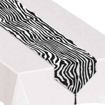 Printed Zebra Print Table Runner Party Accessory (1 count) (1/Pkg) - 1