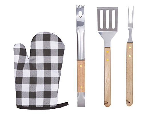 4-Piece Barbecue Set With Stainless Steel Spatula, Barbecue Fork, Grill Tongs And Barbeque Mitt - Grill Tool Set With 9 Inch Solid Wood Handles