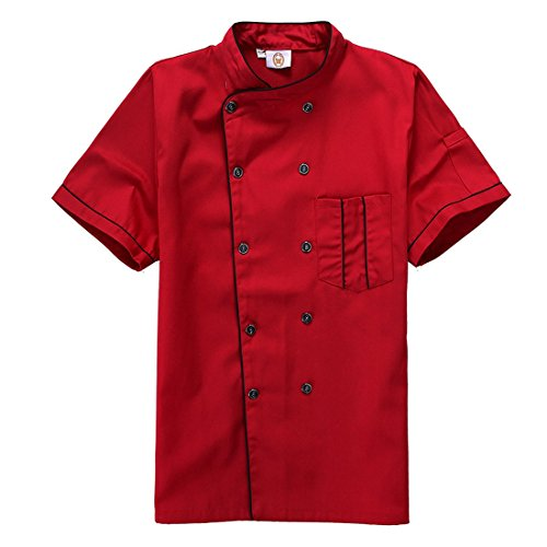 Short Sleeve Chef's Jacket Kitchen Cook Coat Stripe Uniforms (2XL, red) (Chef Jacket For Men Short Sleeves compare prices)