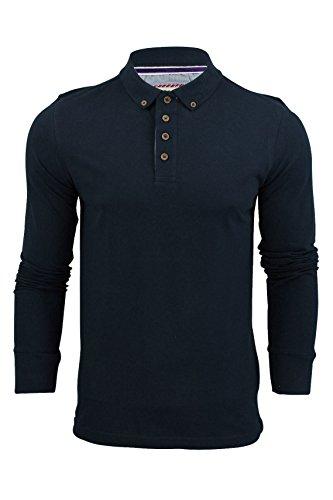 polo-da-uomo-t-camicia-by-brave-soul-lincoln-pique-maniche-lunghe-vintage-blu-xl