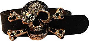 LUNA Studded Crossbone Skull Vintage Leather Belt - BRONZE - XL