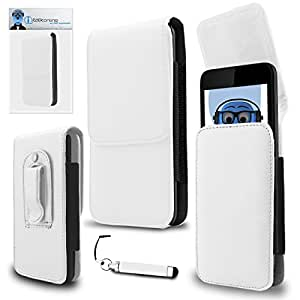 iTALKonline Pantech Laser White PREMIUM PU Leather Vertical Executive Side Pouch Case Cover Holster with Belt Loop Clip and Magnetic Closure and Re-Tractable Captive Touch Tip Stylus Pen with Rubber Tip
