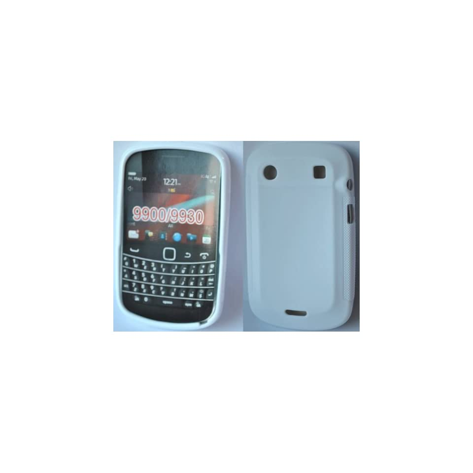 Mobile Palace  White Gel case cover pouch holster with car charger for blackberry bold 9900