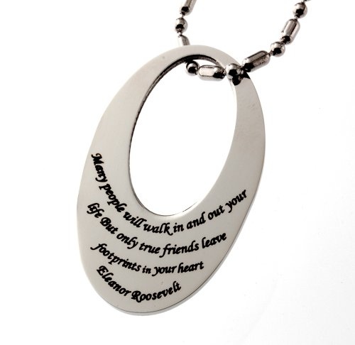 Inspirational Friendship Tag Pendant, Finest Quality Stainless Steel Jewelry