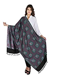 Figaro Blue & Black Viscose Woven Women's Shawl