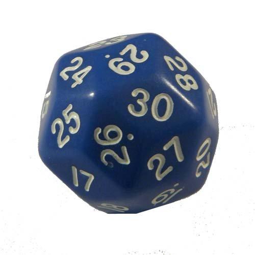 Blue Opaque Triantakohedron 30 Sided Dice 1 ea
