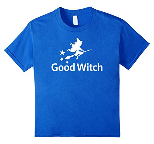[Kids Good Witch Funny Broom Flying Halloween Costume T-Shirt Tee 4 Royal Blue] (Last Minute Awesome Halloween Costumes)