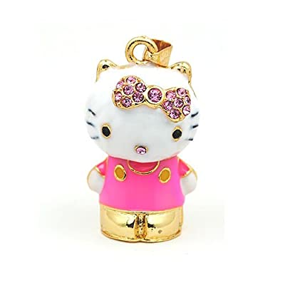 Lovely Pink Hello Kitty 8GB Fashion Crystals USB 2.0 Flash Memory Pen Drive Pendant for Necklace from pengyuan