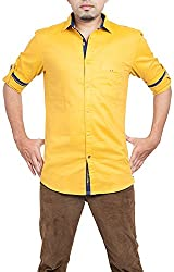 Passion Men's Regular Fit Casual Shirt (FS50772XLYLFS, Yellow, 2X-Large)