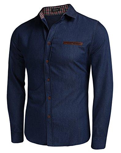 Coofandy Mens Jean Camicia di jeans camicia a maniche lunghe in stile cowboy per il tempo libero Slim Fit