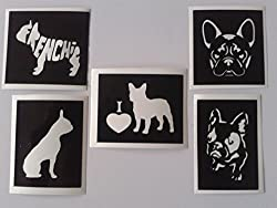 12 x French bulldog mixed stencils for etching on glass gift present glassware hobby craft by Dazzle Glitter Tattoos