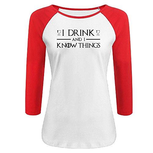 Womens Funny I Drink And I Know Things Raglan 3/4 Sleeve Baseball Tee (Mall Corpus Christi)