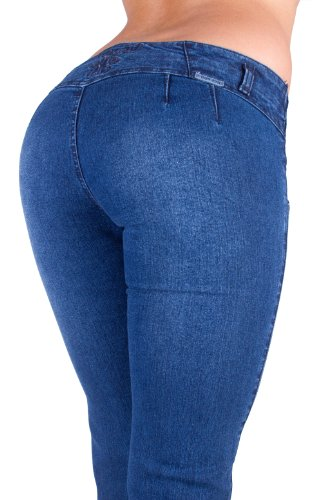 U-Turn Style 212 Butt Lifting Colombian Style Skinny Leg Stylized Denim in Blue