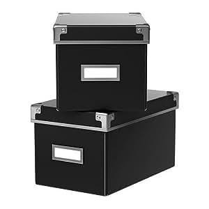ikea aufbewahrungsbox kassett 2er set regalkisten mit deckel und etikett bxtxh 16x26x15cm cd. Black Bedroom Furniture Sets. Home Design Ideas