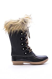 New Women's Faux Fur Shearling Lace Up Duck Ankle/Knee High Boots