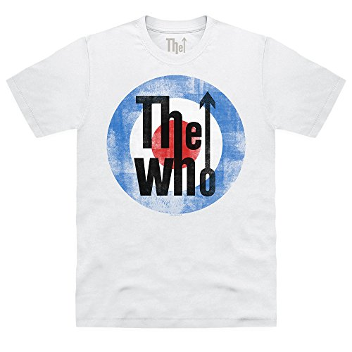 Official The Who T-shirt Target Logo Distressed, Uomo, Bianco, M