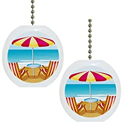Set of 2 Beach Chairs Umbrella Tropical Ocean Solid Ceramic Fan Pulls