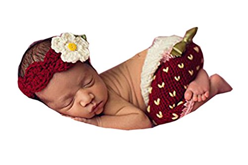 Pinbo Baby Photography Prop Crochet Knitted Costume Strawberry Headband Shorts