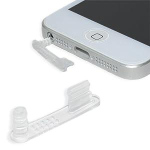iPhone 5 - 5S - 5C Staubschutz Stöpsel Set PREMIUM QUALITÄT - Headset und Lightning Schutz (TRANSPARENT / complete)