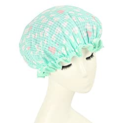 Mold Resistant Shower Cap Double Layers Waterproof Bath Cap Heart Shaped Green