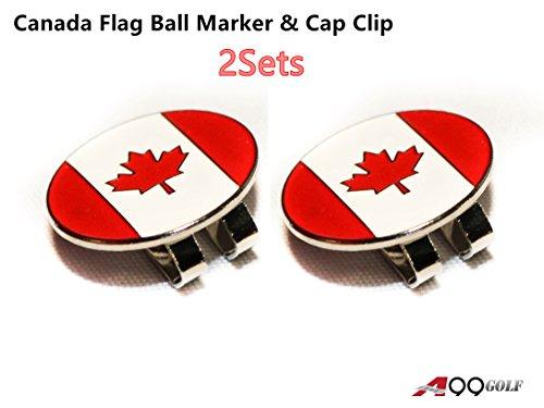 2sets A99 Golf Canada Flag Golf Ball Marker & Cap Clip Hat Visor Clip (Canada Flag Ball compare prices)