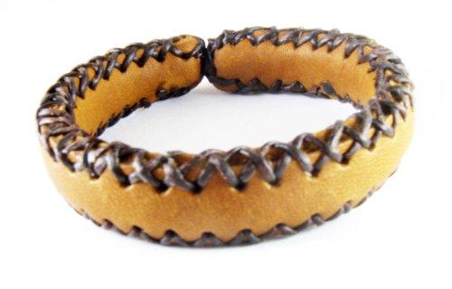 D'SHARK Handmade Biker Leather Plain Bangle Bracelet Cuff Wristband for Unisex (Brown) (Leather Bracelet For Men Shark compare prices)