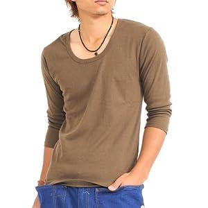(スペイド) SPADE 七分袖Tシャツ メンズ Vネック Uネック Tシャツ 七分丈 無地