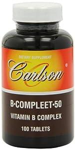 Carlson Labs B-Compleet 50, Vitamin B Complex, 100 Tablets