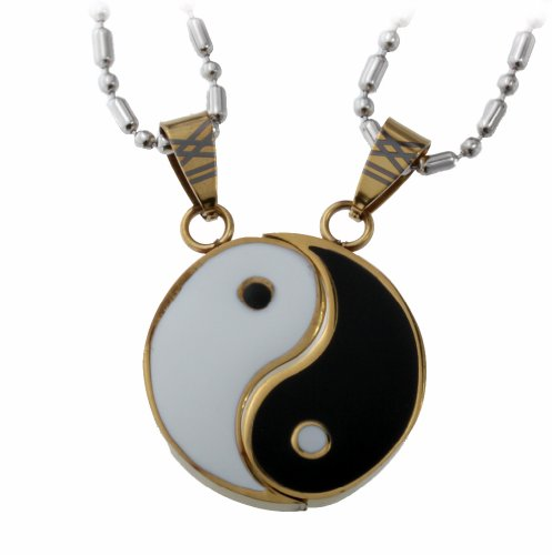 R.H. Jewelry Stainless Steel Yin Yang Men and Women Lovers Couple 2 Piece Pendant Necklace Matching Set