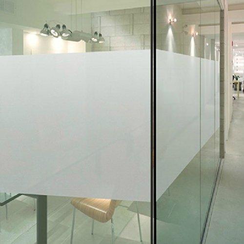 DuoFire®【目隠しシート】装飾再利用可能な、無接着剤静電ペーストプライバシーガラスフィルム(窓、シャワー)の 艶消し白い色 (0.9M X 2M)
