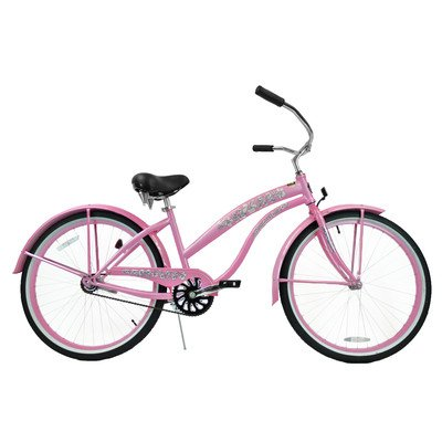 Women's Single Speed Premium Beach Cruiser Frame Color: Pink