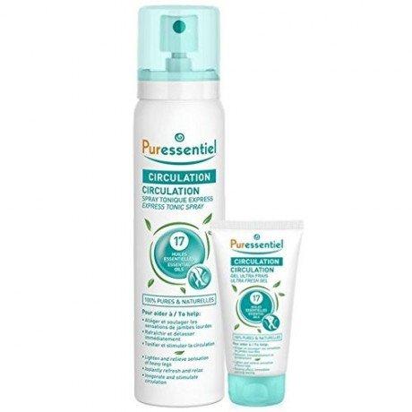 Puressentiel Circulation Spray Tonique Express 17 Huiles Essentielles 100 ml + Gel Ultra Frais aux 17 Huiles Essentielles 10 ml Offert