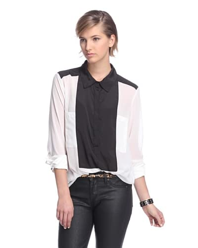 W118 by Walter Baker Women's Cody Colorblock Shirt  [Off White/Black]