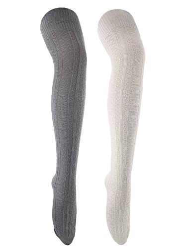 Zando -  Calzettoni  - Donna 2 Pairs White w Light Grey unica