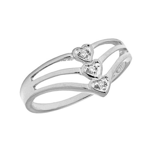 14K White Gold Diamond Heart Ring (Size 7)