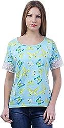 TSAVO Women's Regular Fit Top (1218_BLUE, Blue, X-Small)