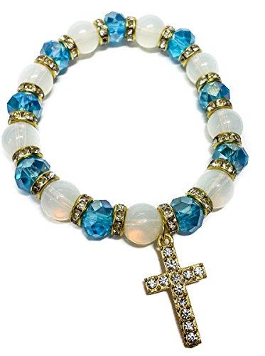 stretchable-golden-bracelet-light-blue-crystal-beads-zircons-cross-jerusalem