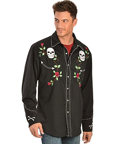 Scully Men's Skull And Roses Embroidered Retro Western Shirt Big - P-771 Blk_X 1