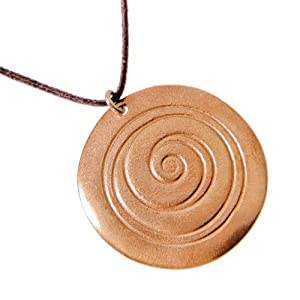 Spiral peace bronze Pendant Necklace on adjustable natural fiber cord