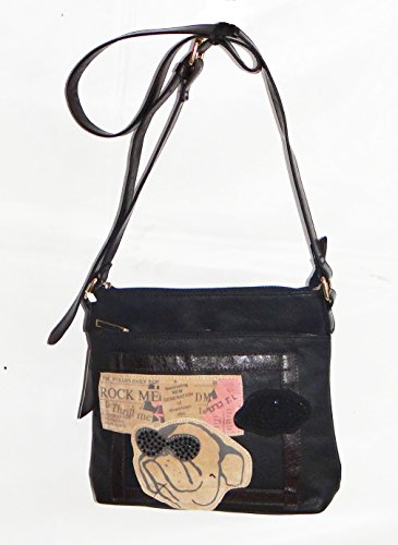 angesagte kultige Tasche, Handtasche, Umhängetasche mit Hund, schwarz