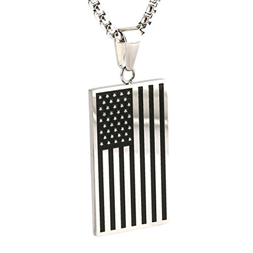 HZman-Stainless-Steel-Mens-American-Flag-Dog-Tag-Pendant-NecklaceGold-and-Silver