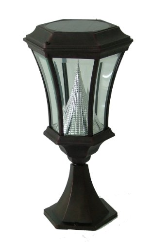 Gama Sonic Victorian Solar Outdoor Led Light Fixture, Pier Base For Flat Mount, Black Finish #Gs-94P-B