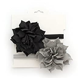 My Lello 2 Pack Infant Baby Headbands Mixed Colors Fabric Petal Flowers (Black/Gray)